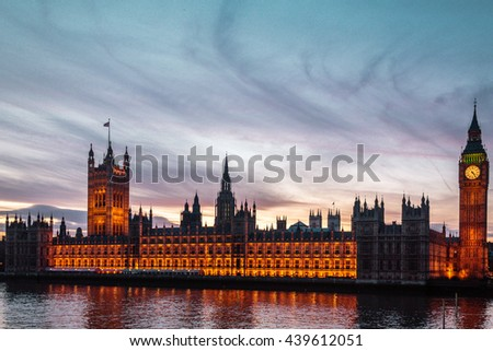 Photo of Sunset at the Big Ben in London, England - stock photo