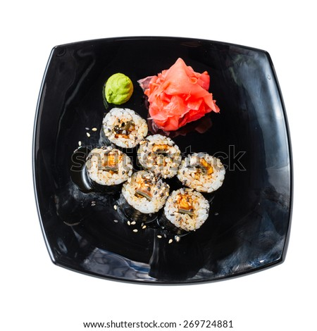 Photo of sushi rolls on a white background - stock photo