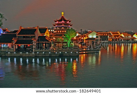 Photo of Suzhou old town in the evening, stylized and filtered to look like an oil painting  - pond and beautifully illuminated historic houses - stock photo