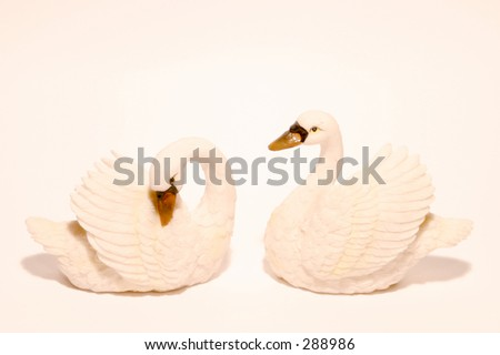 Photo of swan ornaments.