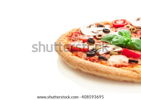 Photo of tasty pizza with mushrooms over white isolated background