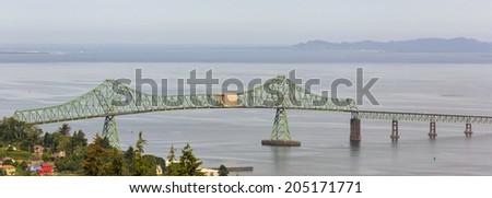 Photo of the Astoria-Megler Bridge that spans the Columbia River - stock photo
