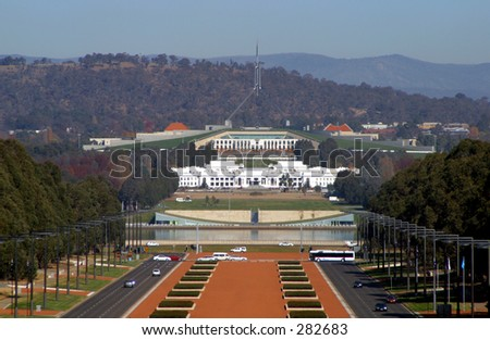 Photo of the Australian parliament house. - stock photo