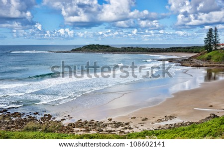 photo of the beach at yamba nsw australia - stock photo