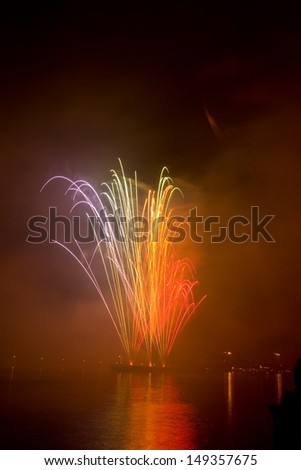 Photo of the beautiful night fireworks - stock photo