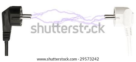 Photo of the black and white plug lightning over white background - stock photo
