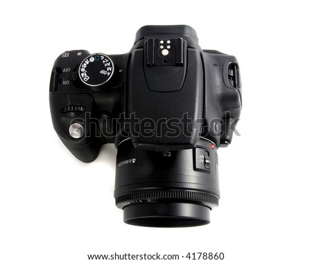 photo of the black photo digital camera on the white background view from the top