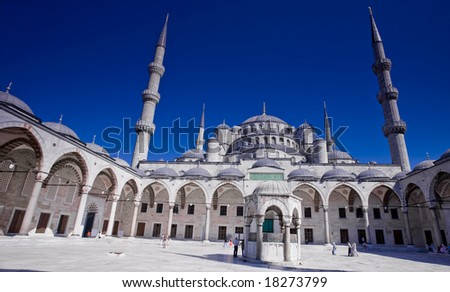 photo of the Blue Mosque in Istanbul Turkey - stock photo