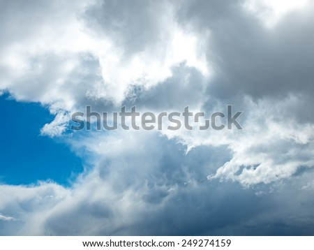 Photo of the blue spring cloudy sky in April - stock photo