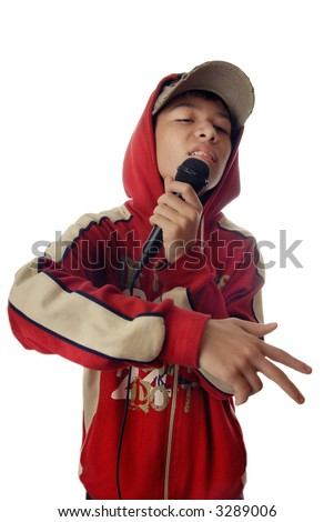 Photo of the boy in rapper clothes singing a hip-hop - stock photo