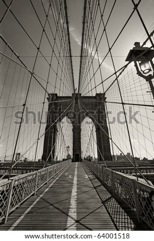 Photo of the Brooklyn Bridge in New York city done in black and white. - stock photo