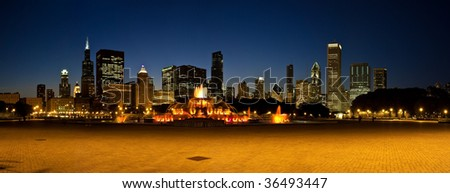 Photo of the Chicago skyline at night from Grant Park. - stock photo