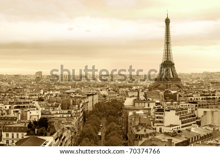 Photo of the cityscape of Paris, France. Sepia-toned. - stock photo
