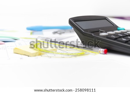 Photo of the Drawing tools with compass and calculator