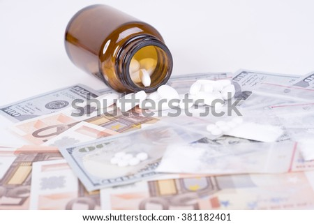 photo of the drugs, cocaine and money - stock photo