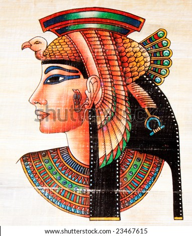 photo of the egyptian  papyrus painting - stock photo