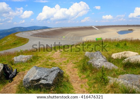 Photo of the empty water reservoire Dlouhe Strane in the jeseniky Mountains in czech republic  - stock photo