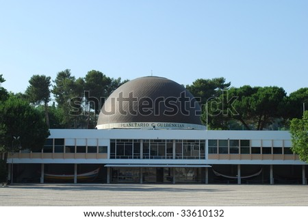 photo of the famous Planetarium of Calouste Gulbenkian in Lisbon, Portugal