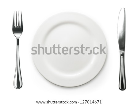 Photo of the fork and knife with white plate on white background - stock photo