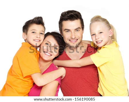 Photo of the happy young family with two children isolated on white background - stock photo