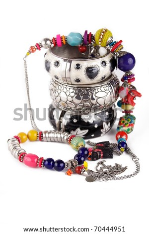 Photo of the Indian jewelry on a white background - stock photo