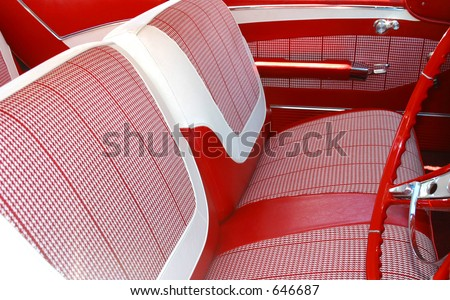 Photo of the interior of a vintage car restored. - stock photo