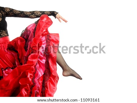 Photo of the leg and arm of Flamenco dancer in Spanish costume