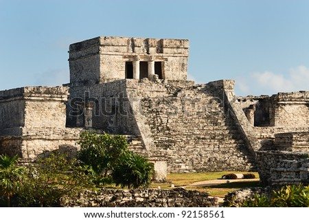 Photo of the Mayan ruins in Tulum Mexico. - stock photo