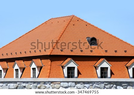 Photo of The Modern Red Roof With Windows - stock photo