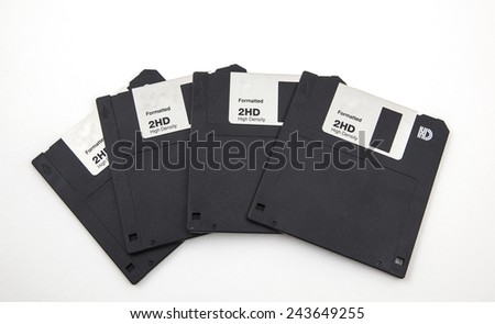 Photo of the old floppy on a white background - stock photo
