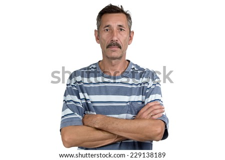 Photo of the old man with arms crossed on white background - stock photo