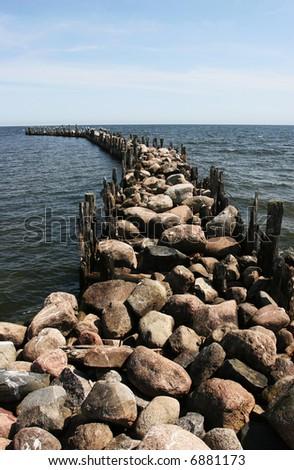 Photo of the old stony pier - stock photo