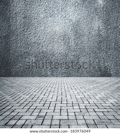Photo of the old walls and old tile floor - stock photo