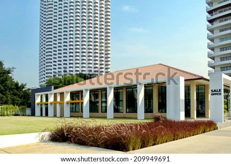 photo of the one-storeyed building sales office - stock photo