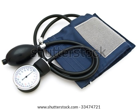 Photo of the  sphygmomanometer against the white background - stock photo