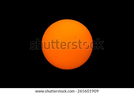 Photo of the sun over black background on 2015. In the photo we can see some sunspots - stock photo