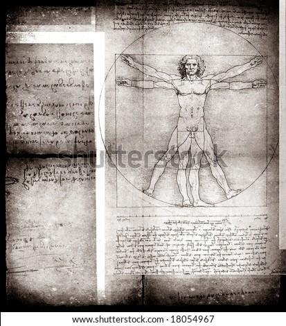Photo of the Vitruvian Man by Leonardo Da Vinci from 1492 on textured background. - stock photo