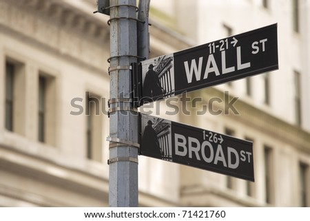 Photo of the Wall Street sign in New York city. - stock photo