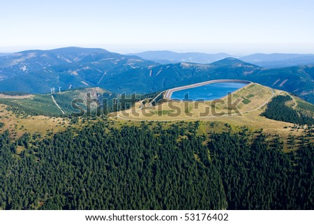 Photo of the water reservoire Dlouhe Strane from height