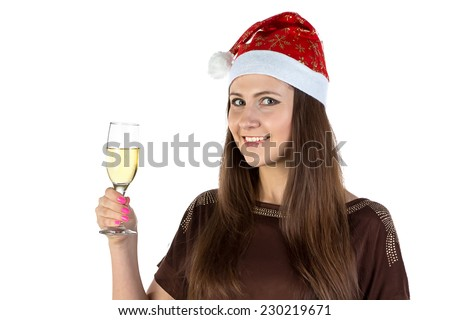 Photo of the woman with glass of champagne on white background - stock photo