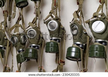 Photo of the WW II gas mask  - stock photo