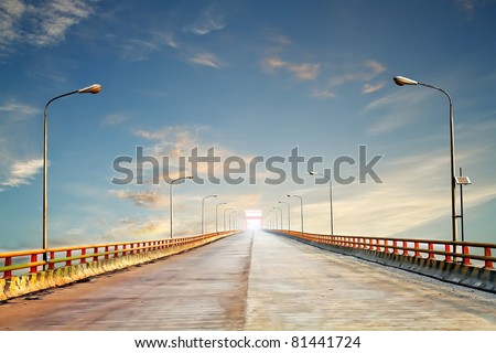 Photo of the Yellow River bridge, the second longest bridge in China - stock photo