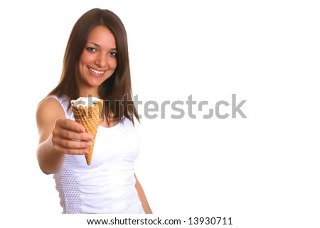 Photo of the young woman with ice cream - stock photo