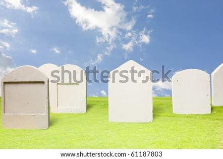 photo of tombstones at day - stock photo