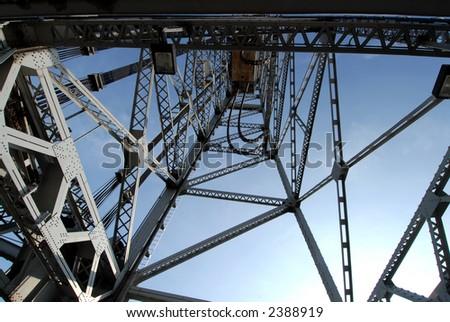 Photo of tower from Bridge 21 in Port Colborne, Ontario. - stock photo