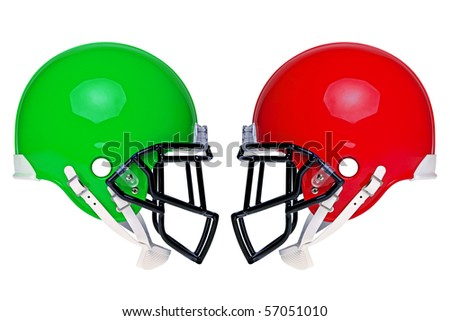 Photo of two American football helmets isolated on a white background. - stock photo