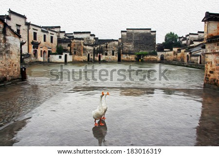 Photo of two geese stand in front of the famous moon pond in ancient Hongcun village, china, stylized and filtered to look like an oil painting - stock photo