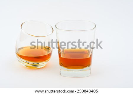 Photo of two glass of whisky against white background