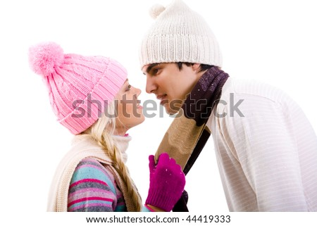 Photo of two lovers before kissing each other isolated on white background