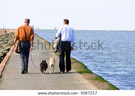 photo of  two men walking on the coastline with  dogs - stock photo